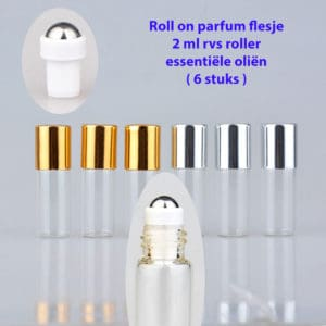 Roll on parfum flesje 2 ml rvs roller bal essentiële oliën
