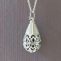 Aroma druppel medaillon hart zilver parfum medaillon lavasteen