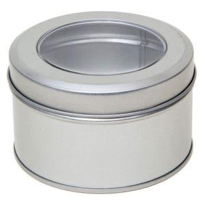 Blikken doosje, pot rond + venster deksel, aluminium verpakkingen