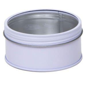 Blikken pot wit rond, schroefdeksel + venster, aluminium verpakkingen