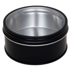 Blikken pot zwart rond, schroefdeksel + venster, aluminium verpakkingen