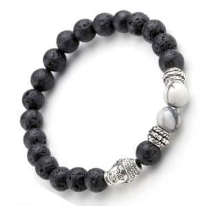 Boeddha armband zwarte lavasteen kralen 8mm witte howliet buddha bedel