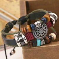 Boheemse armband vintage leer, houten kralen touw