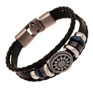 Boheemse armband wind vintage leer, hout, leer, kralen touw