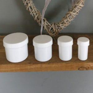 Cosmeticapot crème, zalf, badzout, gel potjes, potten leeg wit schroefdeksel 20ml, 40ml, 75ml, 135ml.