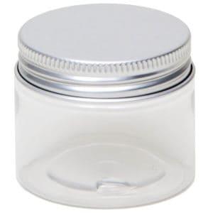 Cosmeticapot transparant, pet pot rond + aluminium schroefdeksel 50 ml