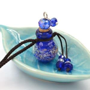 Essentiële olie parfum diffuser aroma ketting fles hanger saffierblauw lichtgevend
