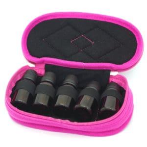 essentiële olie reistas, Reisetui parfum houder 5 flesjes roze