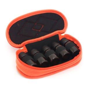essentiële olie reistas, Reisetui parfum houder 5 flesjes oranje