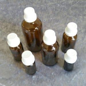 Fles bruinglas schroefdop 5ml, 10ml, 20ml, 30ml, 50ml of 100ml.