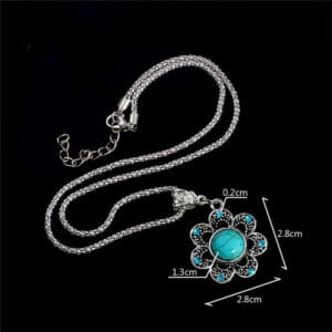 Flower halsketting turquoise crystal natuursteen