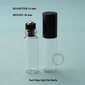 Leeg glazen flesje met metalen roller bal 5ml
