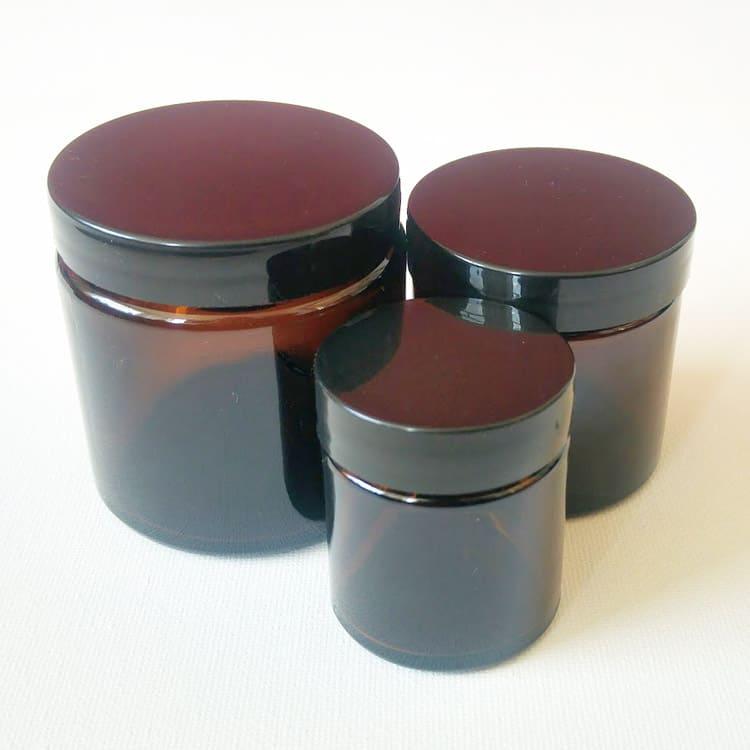 Cosmetica potten, Zalfpot, Crèmepot bruin glas + schroefdeksel