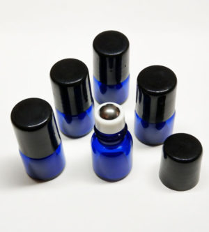 Glazen rollerflesjes 1ml blauw glas + zwarte dop, lege parfumrollers rvs roller bal