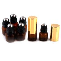 Glazen rollerflesjes gouden dop 1ml, lege parfumrollers amber glas (5 st.)