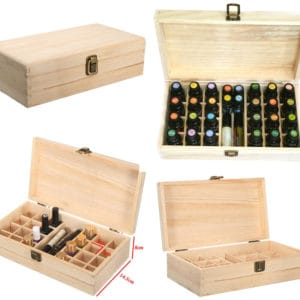 Houten kist opbergdoos display 25 vakken essentiële olie flesjes