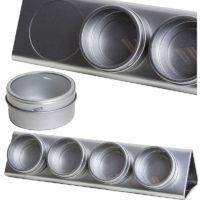 Magnetische blikjes venster, display aluminium + 4 thee kruiden potjes