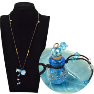 Parfum fles hanger essentiële olie aroma diffuser ketting blauw lichtgevend