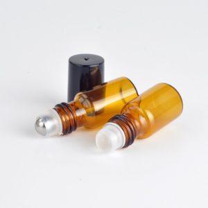 Parfum olie flesjes roll on roller amber glas schroefdop 3ml rvs of glas roller