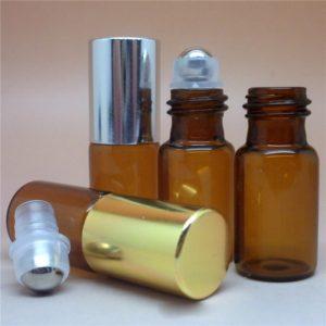 Parfum flesje 3ml amber glas rvs roller bal schroefdop goud zilver