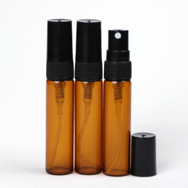 Parfum spray verstuiver amber bruin glas 5 ml - glazen sprayflesjes