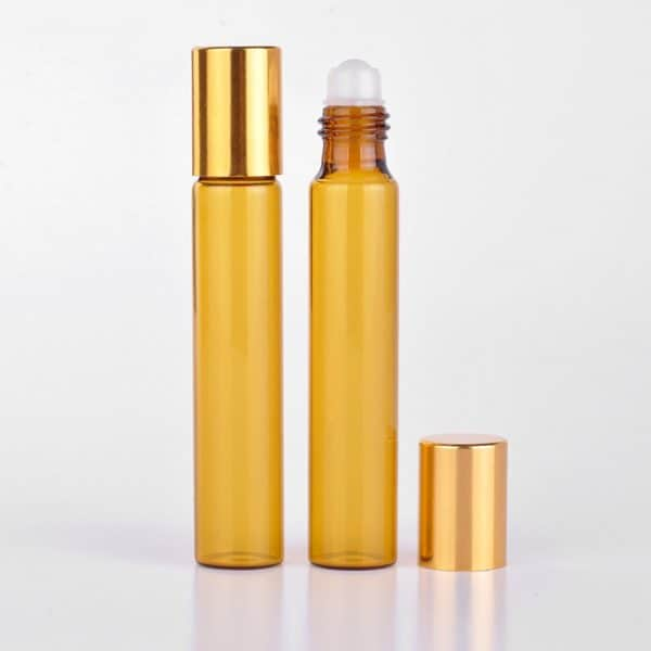 Parfumroller flesjes essentiële olie roll on roller amber bruin glas goeden dop