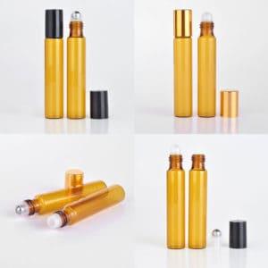 Parfumroller flesjes essentiële olie roll on roller amber bruin glas 10ml