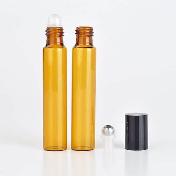 Parfumroller flesjes essentiële olie roll on roller amber zwarte dop10ml