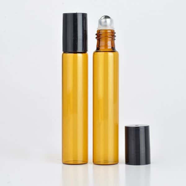 Parfumroller flesjes essentiële olie roll on roller amber bruin glas zwarte dop