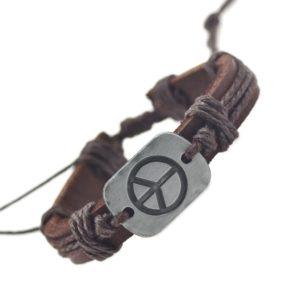 Peace armband bruin leer henneptouw + vrede symbool