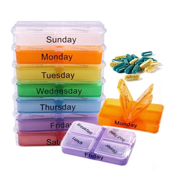 Pillendoosje Voor 7 Dagen.Pillendoosjes 7 Dagen Week Organizer Pillen Medicijnen Box 4