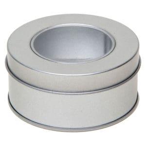 Potje blik rond, kijkvenster, kruidenblik aluminium verpakking