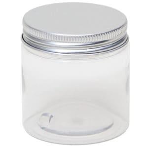 Potten transparant, cosmetica pet pot rond + aluminium schroefdeksel 100 ml