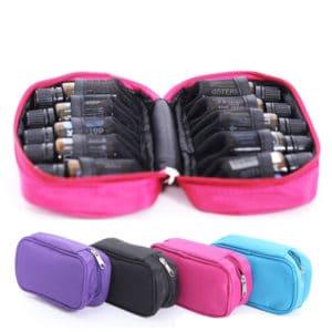Reisetui, reistas, draagtas parfum houder voor 10 essentiële olie flesjes 5ml, 10ml, 15ml, tas 10 vakken, roze, paars, zwart, blauw