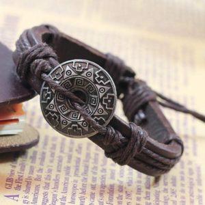 Retro Gothic Armband bruin - leer henneptouw