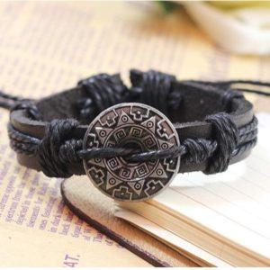 Retro Gothic Armband zwart - leer henneptouw