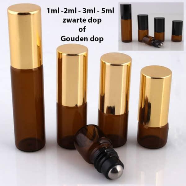 Roller flesjes glas amber bruin lege parfum roll on fles essentiële oliën