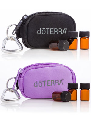 Sleutelhanger tas + 8 lege amber essentiële olie druppelflesjes 2ml