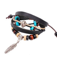 Surf armband Indian, leer, houten kralen henneptouw