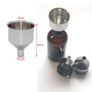 Trechter RVS - roestvrij staal, tuitje Ø 9.5 mm vulmond Ø 38 mm.