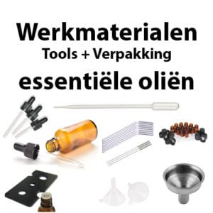 Werkmaterialen, tools, gereedschap en verpakking voor essentiële oliën