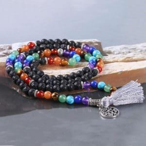 Wikkelarmband levensboom lavasteen armband natuurstenen chakra yoga reiki